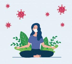 femme-meditant-portant-masque-medical-concept-pour-yoga-meditation-se-detendre-mode-vie-sain-dans-paysage-cellules-covid-19-dans-environnement_24877-64966